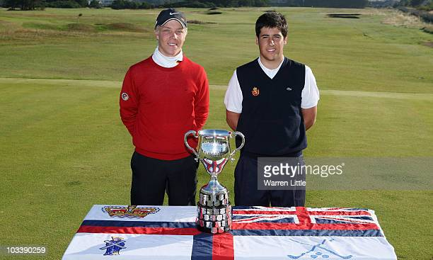 Max Rottluff of Germany and Adrian Otaegui of Spain pose for a picture ahead of the final of the Boys Amateur Championship at the Kilmarnock Golf...