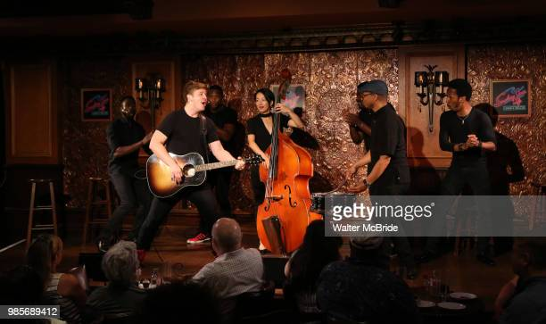Max Sangerman and cast during the Press Preview Presentation for the new production of 'Smokey Joe's Cafe' at Feinstein's/54 Below on June 27 2018 in...