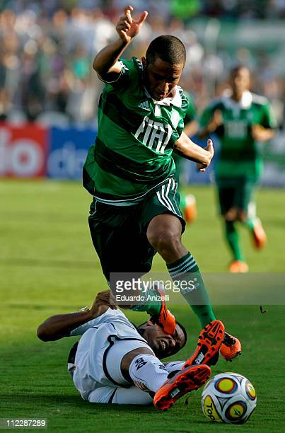 Max Santos Palmeiras in action during a match against Ponte Preta at Moises Lucareli stadium on April 17 in Campinas Brazil