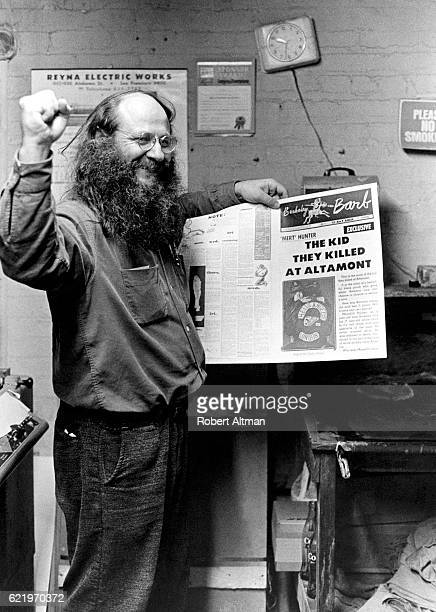 Max Scheer founder and publisher of the Berkeley Barb holds a paper talking about the kid who was killed at Altamont in December 1969 in Berkeley...