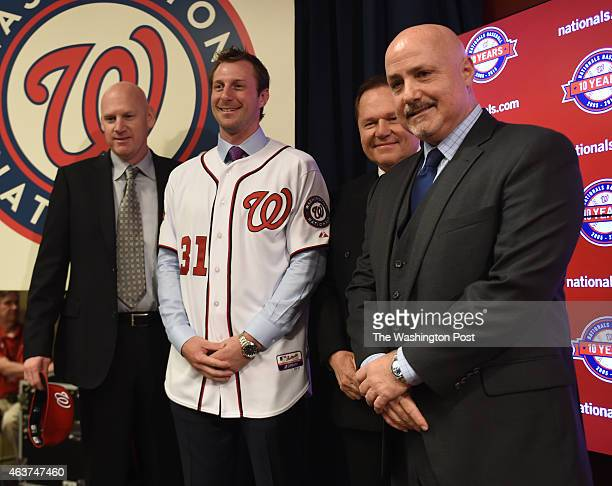 Max Scherzer, newly acquired pitcher for the Washington Nationals, poses with manager Matt Wiliams, agent Scott Boras and GM Mike Rizzo on January...