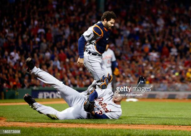 Max Scherzer of the Detroit Tigers catches a bunted ball in the third inning hits a by Shane Victorino of the Boston Red Sox during Game Six of the...