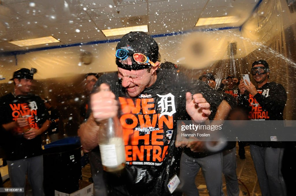 Max Scherzer #37 of the Detroit Tigers celebrates with champagne in the clubhouse after the Tigers defeated the Twins 1-0 on September 25, 2013 at Target Field in Minneapolis, Minnesota. The Tigers clinched the American League Central Division title.