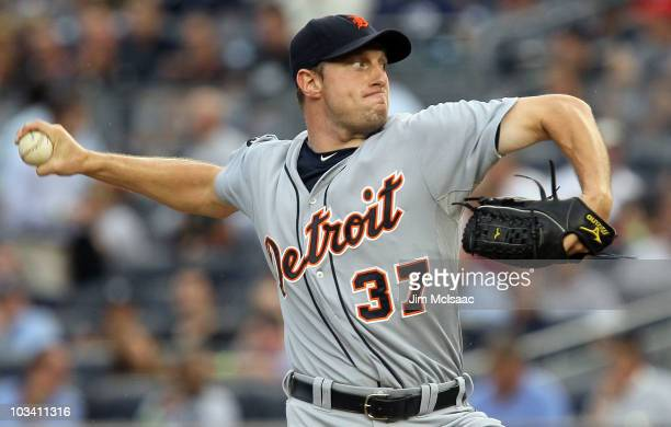 Max Scherzer of the Detroit Tigers delivers a pitch against the New York Yankees on August 16 2010 at Yankee Stadium in the Bronx borough of New York...