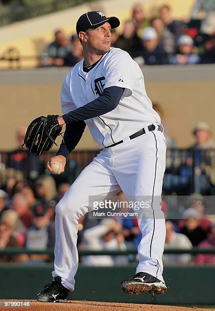 Max Scherzer of the Detroit Tigers pitches against the Washington Nationals during the spring training game at Joker Marchant Stadium on March 23...