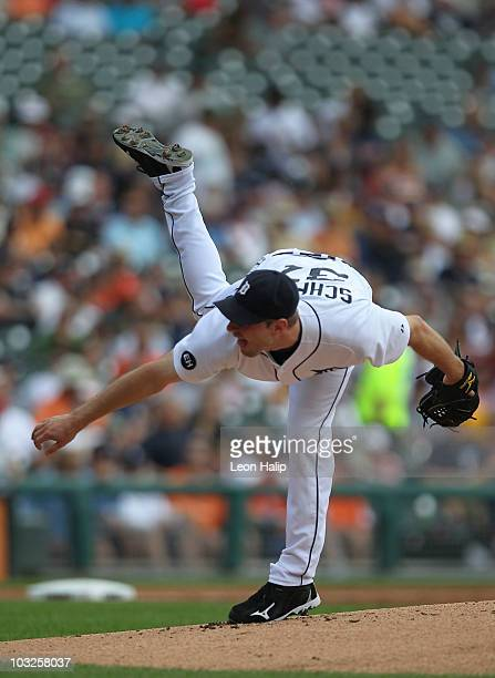 Max Scherzer of the Detroit Tigers pitches in the second inning against during the game against the Chicago White Sox on August 5 2010 at Comerica...