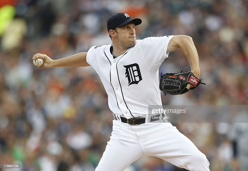 Max Scherzer #37 of the Detroit Tigers pitches in the second inning during the game against the Seattle Mariners at Comerica Park on June 11, 2011 in Detroit, Michigan.