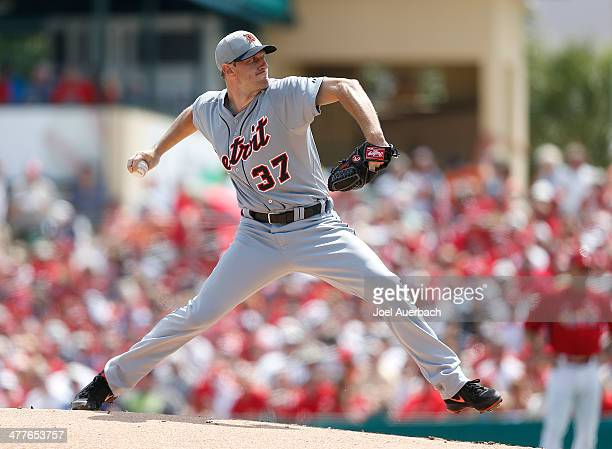Max Scherzer of the Detroit Tigers throws the ball against the St Louis Cardinals during a spring training game at Roger Dean Stadium on March 10...