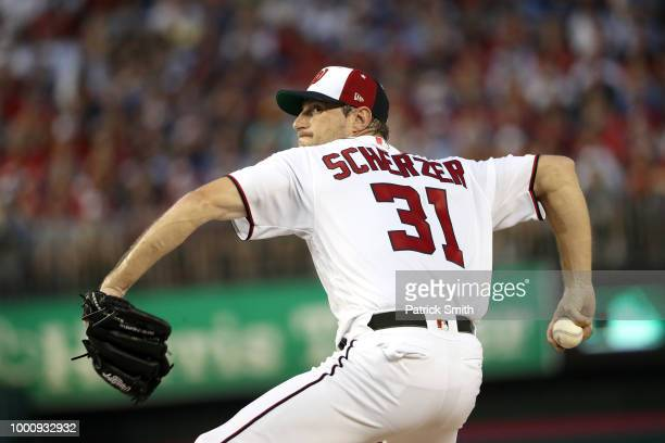 Max Scherzer of the Washington Nationals and the National League throws out the first pitch in the first inning against the American League during...