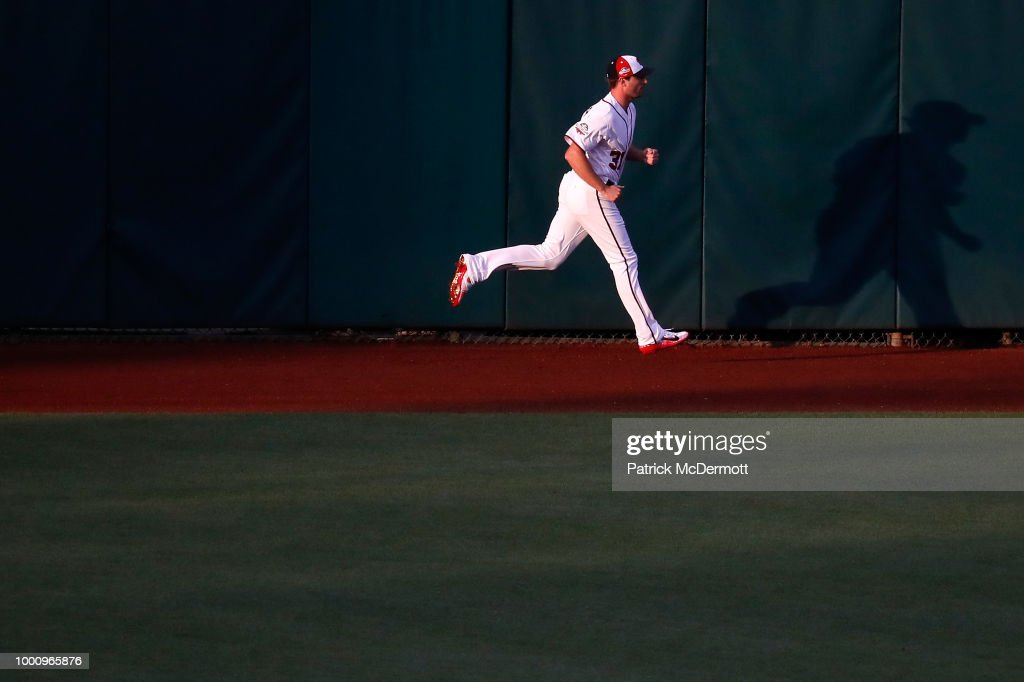 Max Scherzer #31 of the Washington Nationals and the National League warms up before the 89th MLB All-Star Game, presented by Mastercard at Nationals Park on July 17, 2018 in Washington, DC.