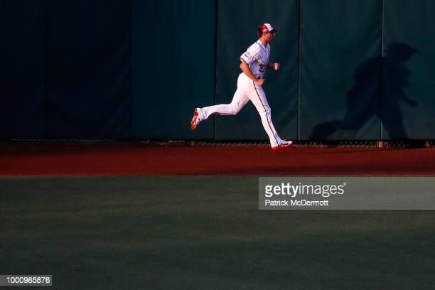 Max Scherzer of the Washington Nationals and the National League warms up before the 89th MLB AllStar Game presented by Mastercard at Nationals Park...
