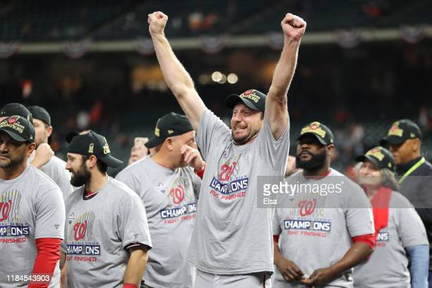 Max Scherzer of the Washington Nationals celebrates after the team defeated the Houston Astros 62 in Game Seven to win the 2019 World Series in Game...