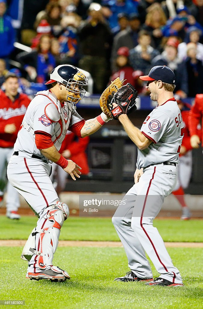 Max Scherzer #31 of the Washington Nationals celebrates his no hitter with Wilson Ramos #40 against the New York Mets after their game at Citi Field on October 3, 2015 in New York City.