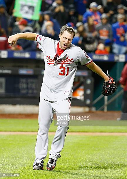 Max Scherzer of the Washington Nationals celebrates his no hitter against the New York Mets after their game at Citi Field on October 3, 2015 in New...
