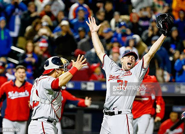 Max Scherzer of the Washington Nationals celebrates his no hitter with Wilson Ramos against the New York Mets after their game at Citi Field on...