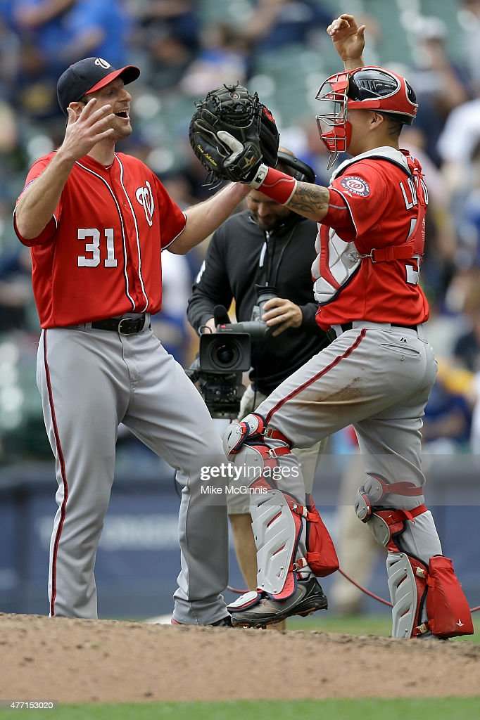 Max Scherzer #31 of the Washington Nationals celebrates with Jose Lobaton #59 after pitching a one hitter in the 4-0 win over the Milwaukee Brewers at Miller Park on June 14, 2015 in Milwaukee, Wisconsin.