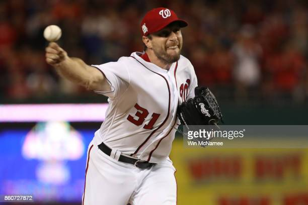 Max Scherzer of the Washington Nationals delivers a pitch against the Chicago Cubs during the fifth inning in game five of the National League...