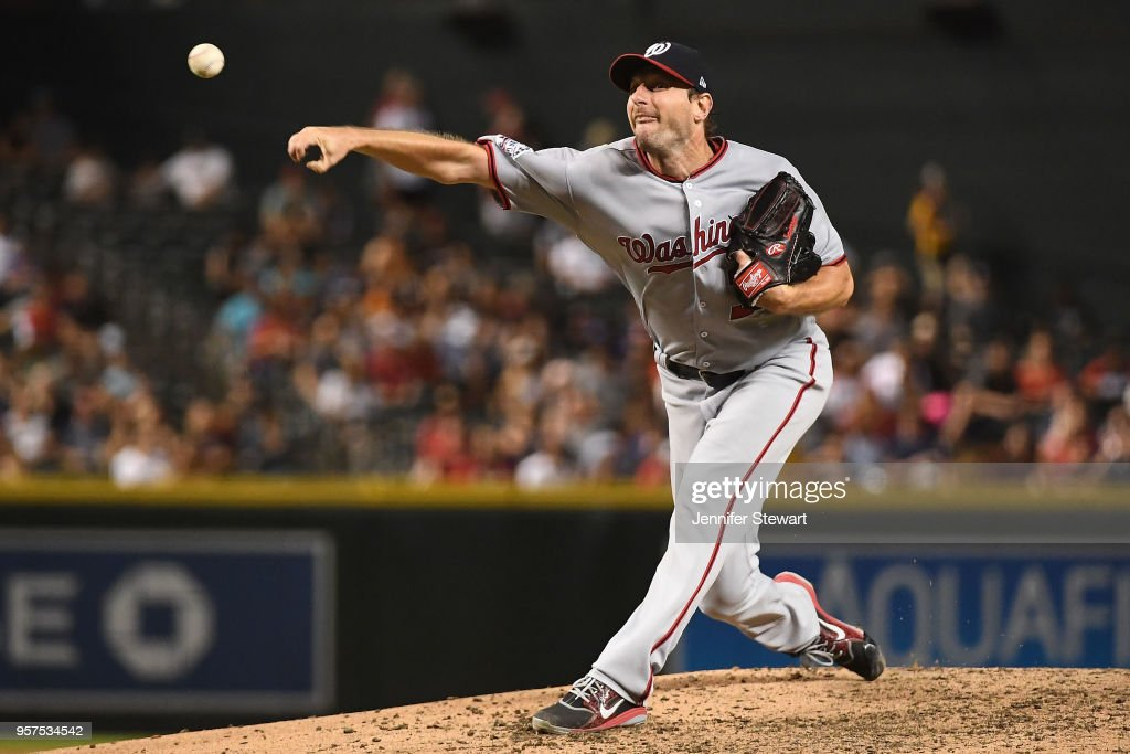 Max Scherzer #31 of the Washington Nationals delivers a pitch in the MLB game against the Arizona Diamondbacks at Chase Field on May 11, 2018 in Phoenix, Arizona. The Washington Nationals won 3-1.