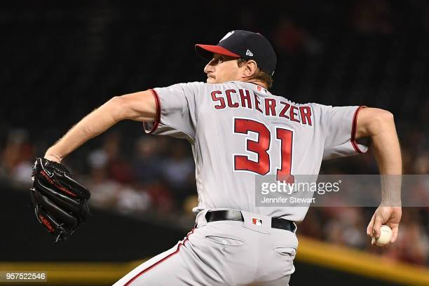 Max Scherzer of the Washington Nationals delivers a pitch in the first inning of the MLB game against the Arizona Diamondbacks at Chase Field on May...