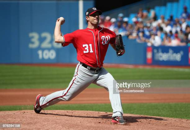 Max Scherzer of the Washington Nationals delivers a pitch in the first inning during MLB game action against the Toronto Blue Jays at Rogers Centre...