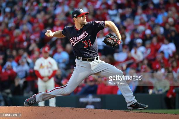 Max Scherzer of the Washington Nationals delivers during the second inning of game two of the National League Championship Series against the St...