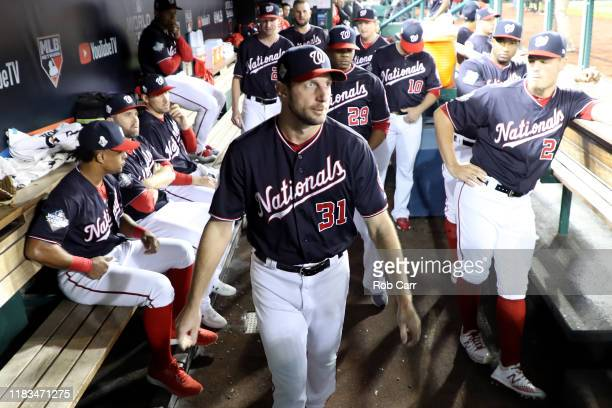 Max Scherzer of the Washington Nationals looks on prior to Game Three of the 2019 World Series against the Houston Astros at Nationals Park on...