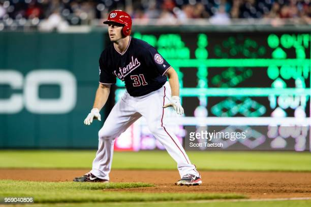 Max Scherzer of the Washington Nationals on base during the fifth inning against the Pittsburgh Pirates at Nationals Park on May 1 2018 in Washington...