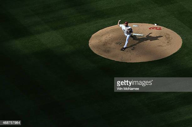 Max Scherzer of the Washington Nationals pitches against the New York Mets during the third inning on Opening Day at Nationals Park on April 6 2015...