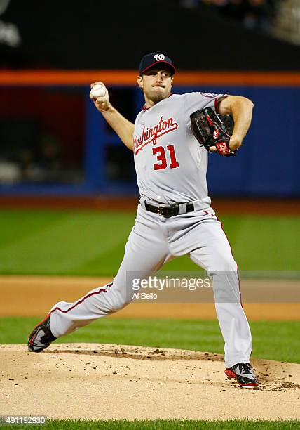 Max Scherzer of the Washington Nationals pitches against the New York Mets during their game at Citi Field on October 3 2015 in New York City