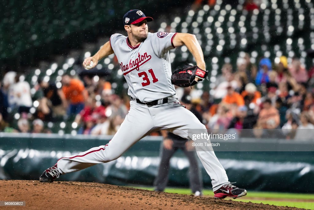Max Scherzer #31 of the Washington Nationals pitches against the Baltimore Orioles during the eighth inning at Oriole Park at Camden Yards on May 30, 2018 in Baltimore, Maryland.