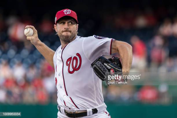 Max Scherzer of the Washington Nationals pitches against the Cincinnati Reds during the first inning at Nationals Park on August 02 2018 in...