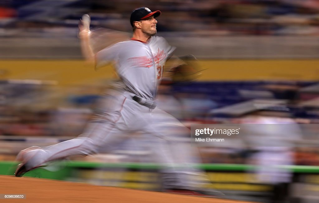Max Scherzer #31 of the Washington Nationals pitches during a game against the Miami Marlins at Marlins Park on September 21, 2016 in Miami, Florida.