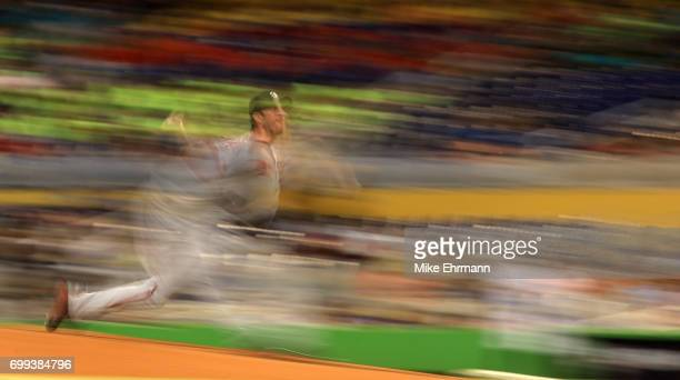 Max Scherzer of the Washington Nationals pitches during a game against the Miami Marlins at Marlins Park on June 21 2017 in Miami Florida