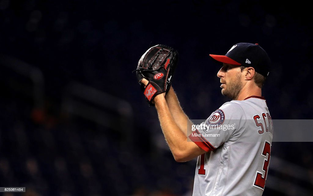Max Scherzer #31 of the Washington Nationals pitches during a game against the Miami Marlins at Marlins Park on August 1, 2017 in Miami, Florida.
