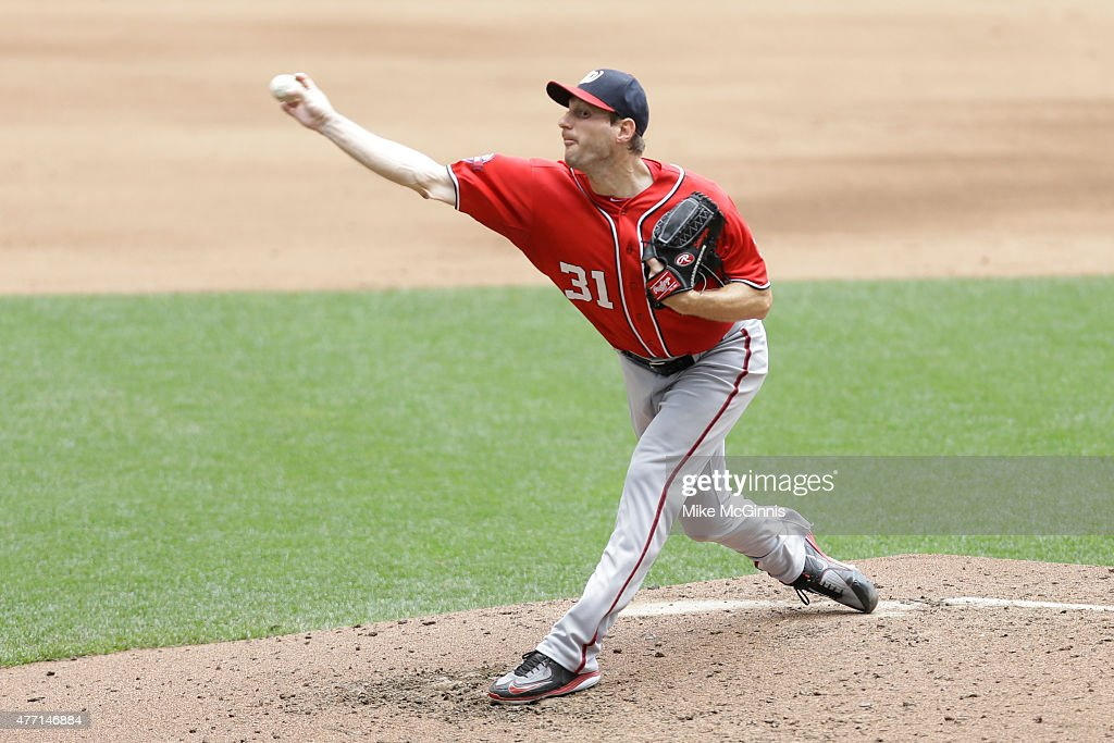 Max Scherzer #31 of the Washington Nationals pitches during the fifth inning against the Milwaukee Brewers at Miller Park on June 14, 2015 in Milwaukee, Wisconsin.