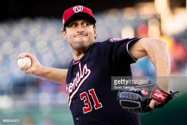 Max Scherzer of the Washington Nationals pitches during the first inning against the Pittsburgh Pirates at Nationals Park on May 1 2018 in Washington...