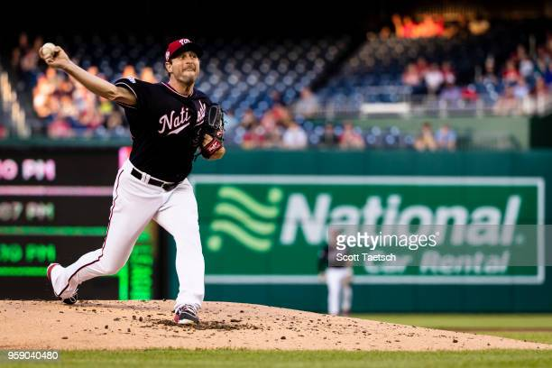 Max Scherzer of the Washington Nationals pitches during the second inning against the Pittsburgh Pirates at Nationals Park on May 1 2018 in...