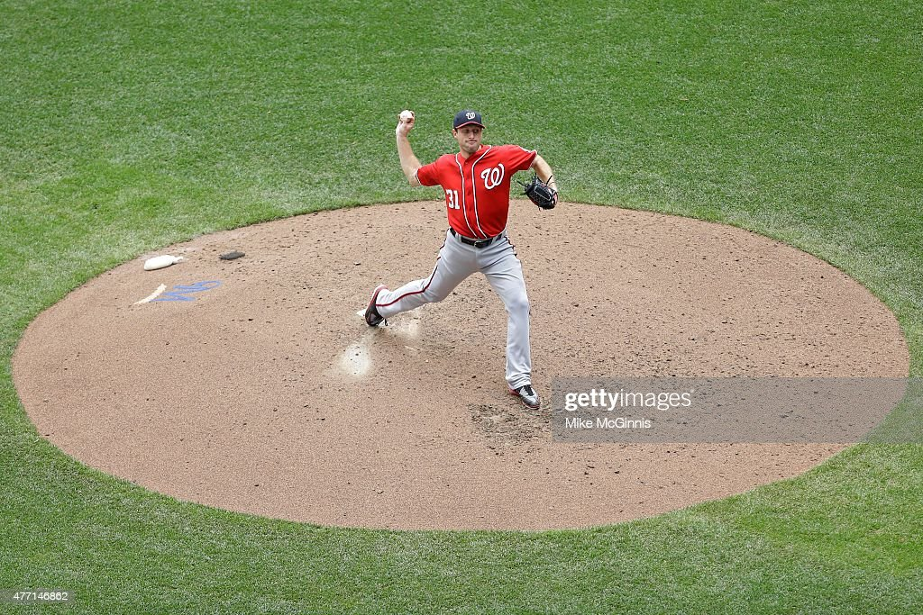 Max Scherzer #31 of the Washington Nationals pitches during the sixth inning against the Milwaukee Brewers at Miller Park on June 14, 2015 in Milwaukee, Wisconsin.