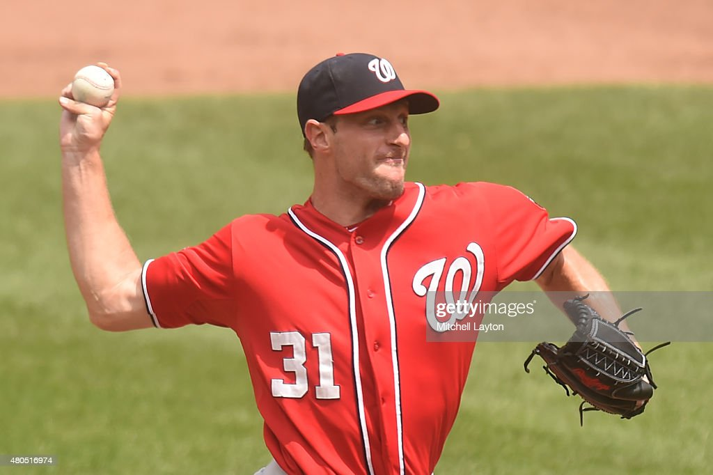 Max Scherzer #31 of the Washington Nationals pitches in the fifth inning during a baseball game against the Baltimore Orioles at Oriole Park at Camden Yards on July 12, 2015 in Baltimore, Maryland. The Nationals won 3-2.