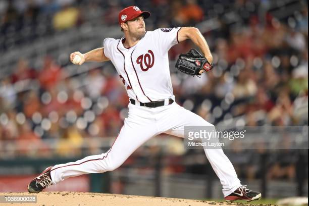 Max Scherzer of the Washington Nationals pitches in the first inning during a baseball game against the New York Mets at Nationals Park on September...