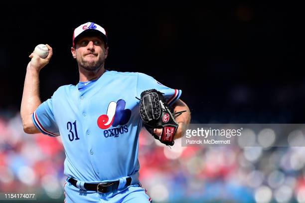 Max Scherzer of the Washington Nationals pitches in the first inning against the Kansas City Royals at Nationals Park on July 6 2019 in Washington DC...