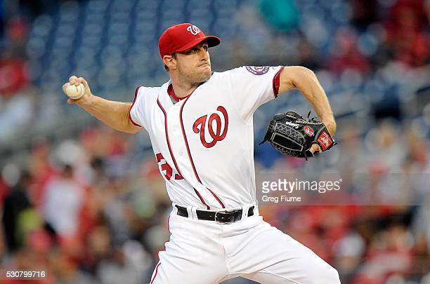 Max Scherzer of the Washington Nationals pitches in the first inning against the Detroit Tigers at Nationals Park on May 11 2016 in Washington DC