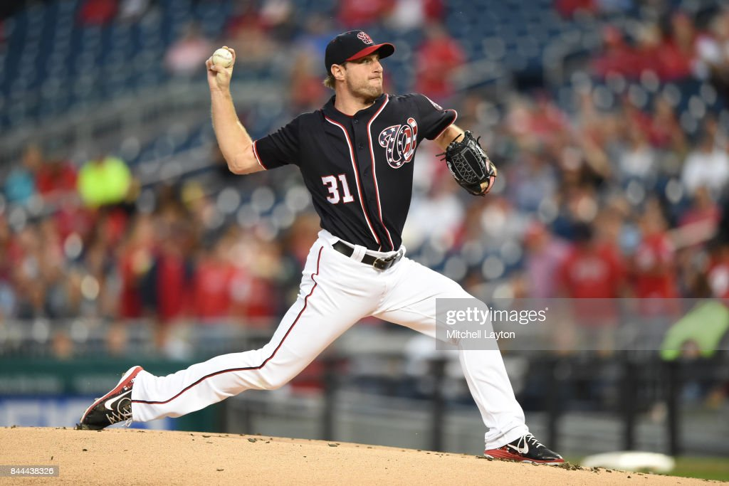 Max Scherzer #31 of the Washington Nationals pitches in the first inning during a baseball game against the Philadelphia Phillies at Nationals Park on September 8, 2017 in Washington, DC.