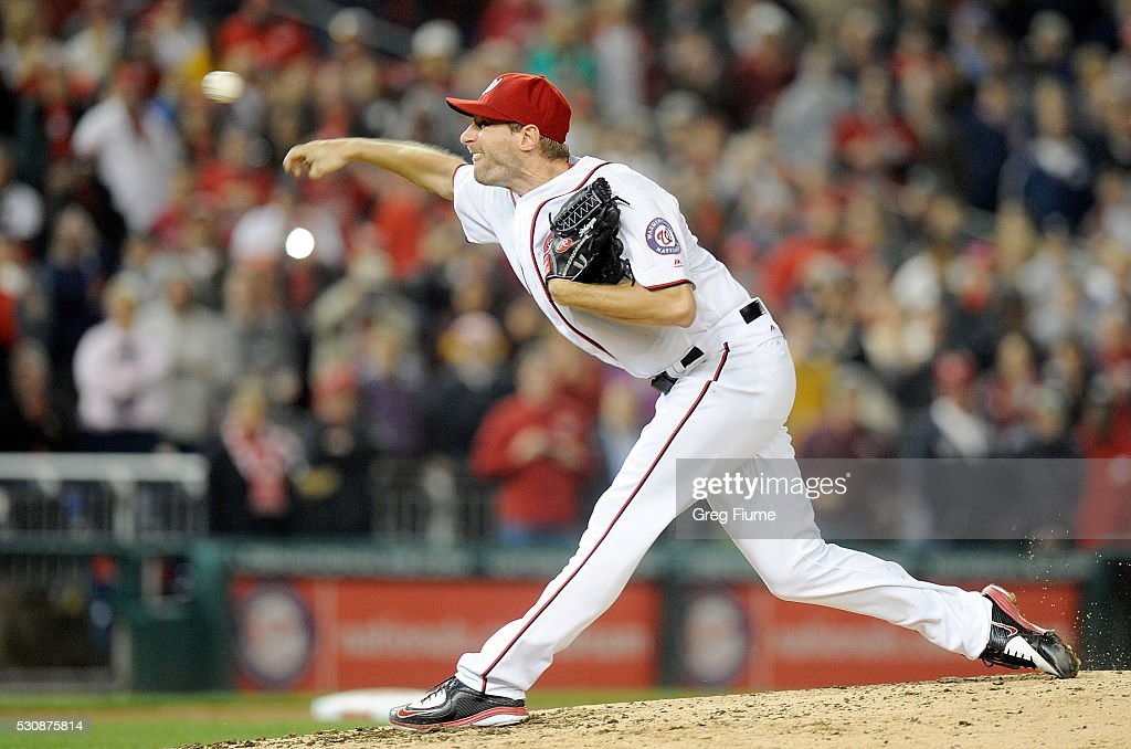 Max Scherzer #31 of the Washington Nationals pitches in the ninth inning against the Detroit Tigers at Nationals Park on May 11, 2016 in Washington, DC. Scherzer tied the MLB record for strikeouts in a game with 20.