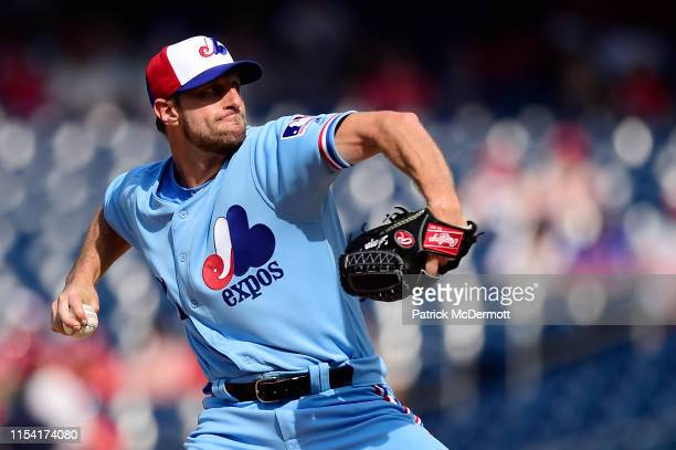 Max Scherzer of the Washington Nationals pitches in the second inning against the Kansas City Royals at Nationals Park on July 6 2019 in Washington...