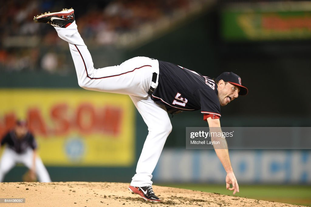 Max Scherzer #31 of the Washington Nationals pitches in the third inning during a baseball game against the Philadelphia Phillies at Nationals Park on September 8, 2017 in Washington, DC.
