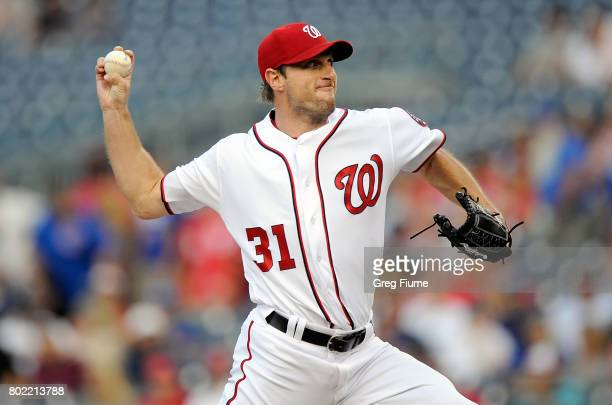 Max Scherzer of the Washington Nationals pitches is the first inning against the Chicago Cubs at Nationals Park on June 27 2017 in Washington DC