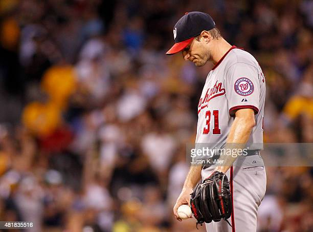 Max Scherzer of the Washington Nationals reacts after giving up a two run home run in the fifth inning during the game against the Pittsburgh Pirates...