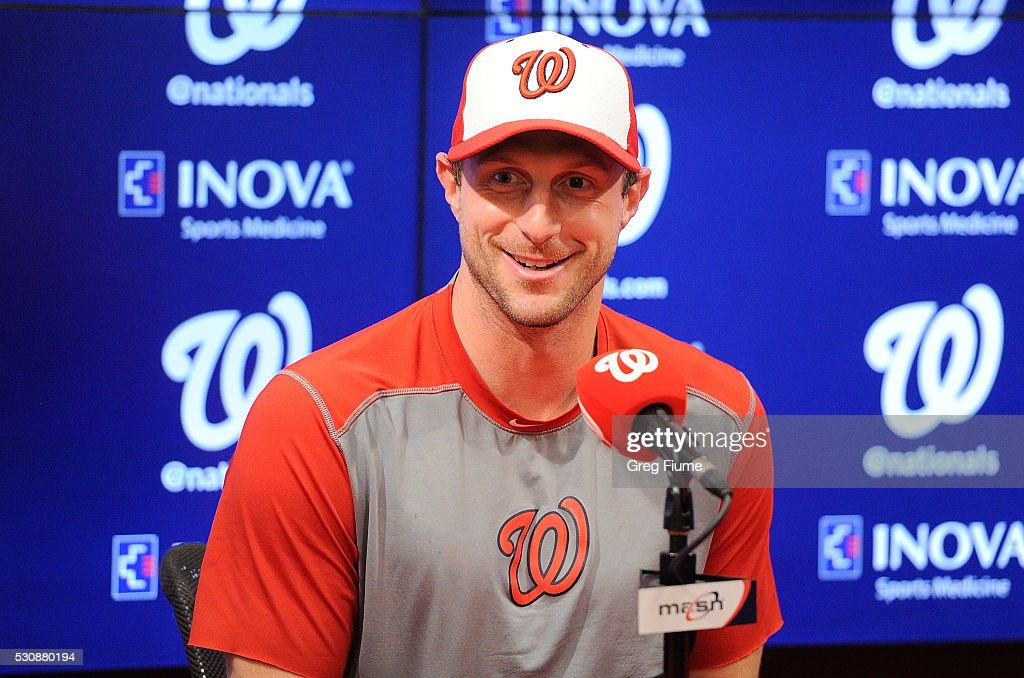 Max Scherzer #31 of the Washington Nationals talks to the press after tying the MLB record for strikeouts in a game with 20 against the Detroit Tigers at Nationals Park on May 11, 2016 in Washington, DC.