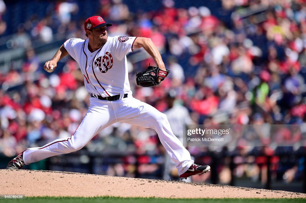 Max Scherzer #31 of the Washington Nationals throws a pitch in the seventh inning against the Colorado Rockies at Nationals Park on April 14, 2018 in Washington, DC.